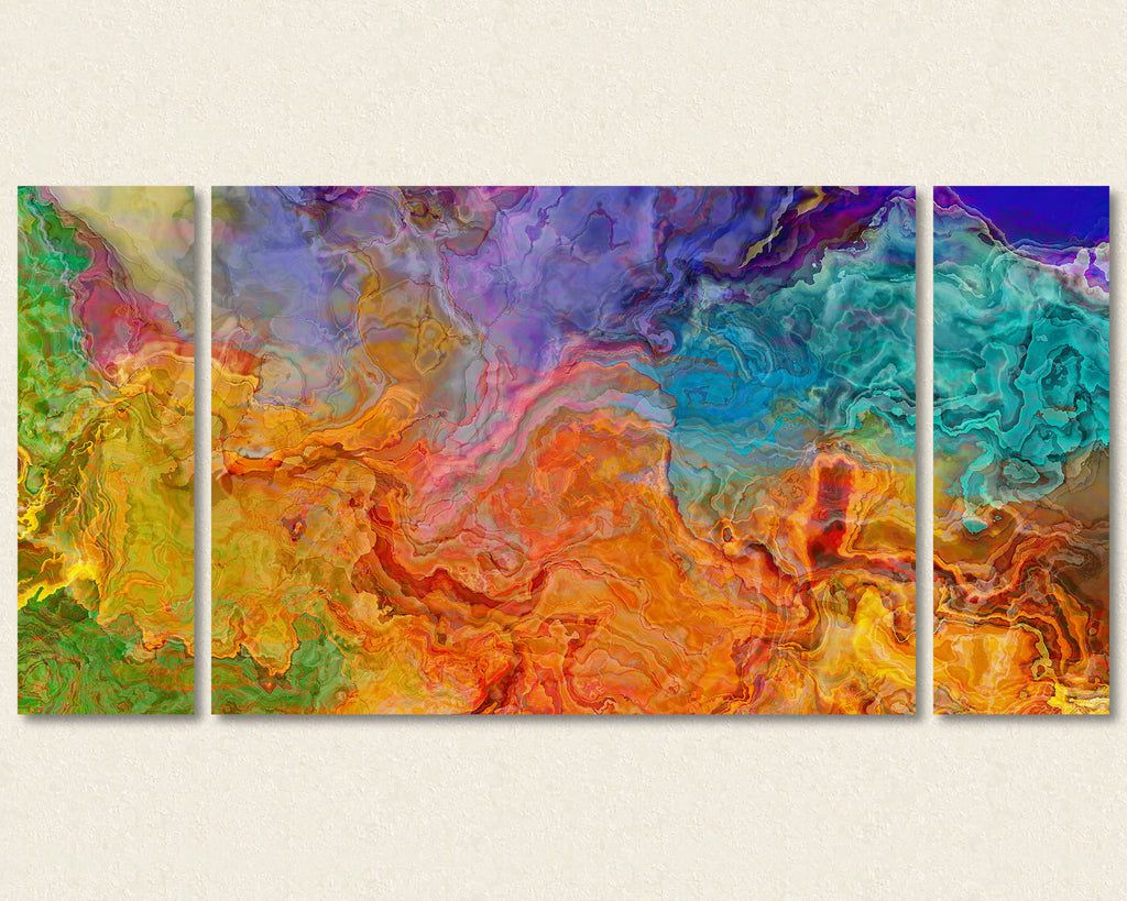 Abstract art triptych canvas print in Green, Aqua, Purple, Red