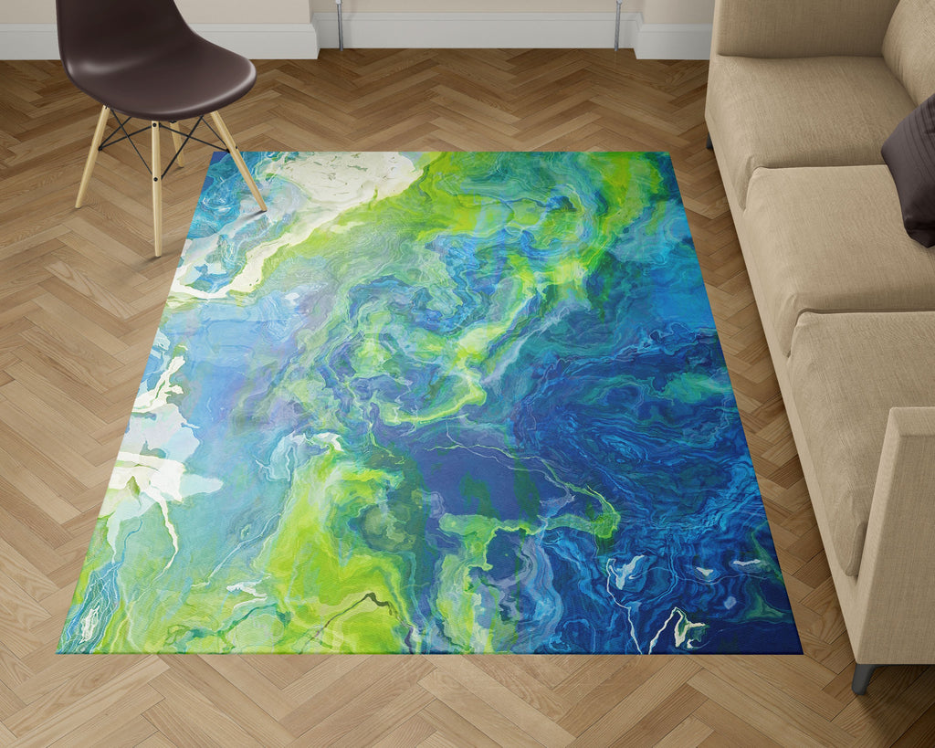 Area Rug with Abstract Art, 2x3 to 5x7, in blue, green and white