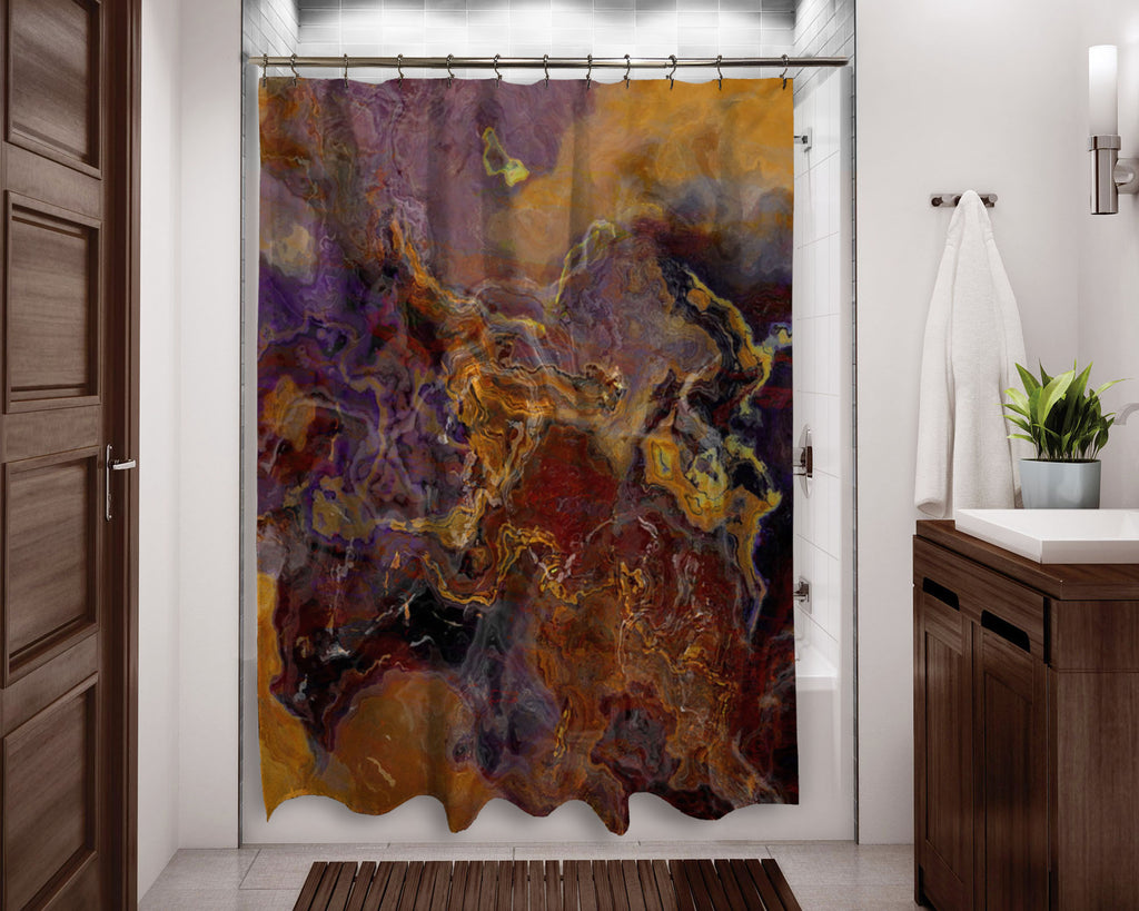 Abstract shower curtain Purple and Brown contemporary bathroom