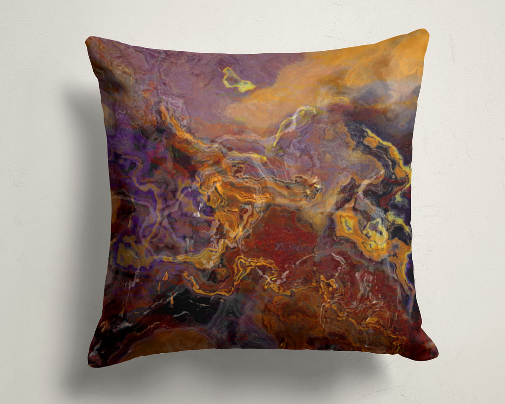 Abstract art pillow covers, 16x16 and 18x18 inches, Purple and Brown