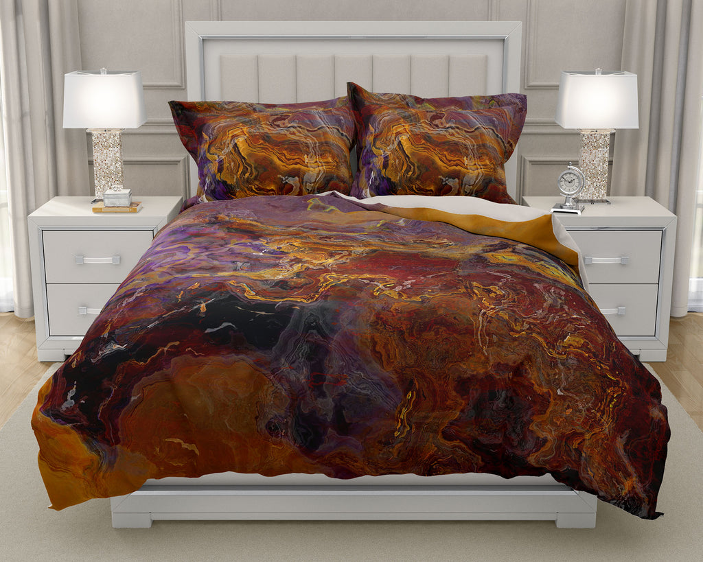 Duvet Cover with abstract art, king or queen in Purple and Brown