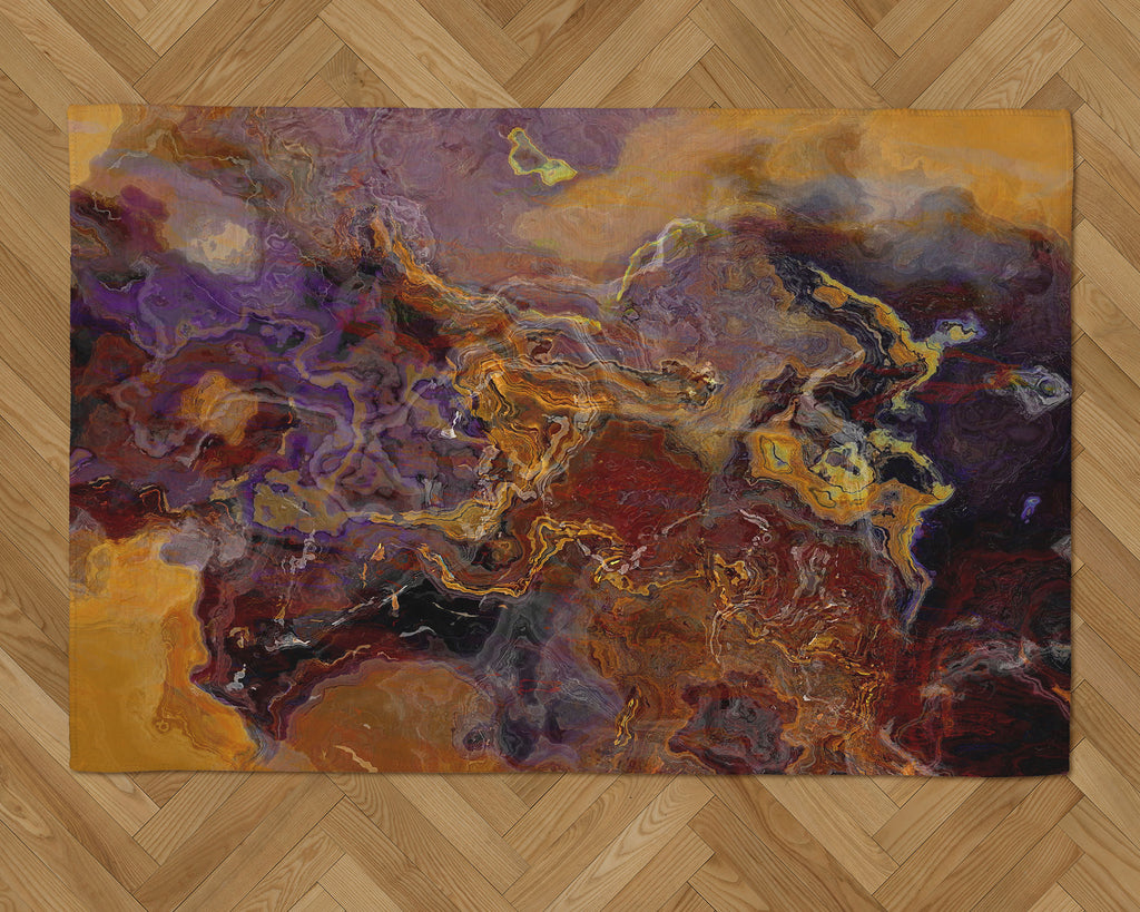 Area Rug with Abstract Art, 2x3 to 5x7, in Purple and Brown
