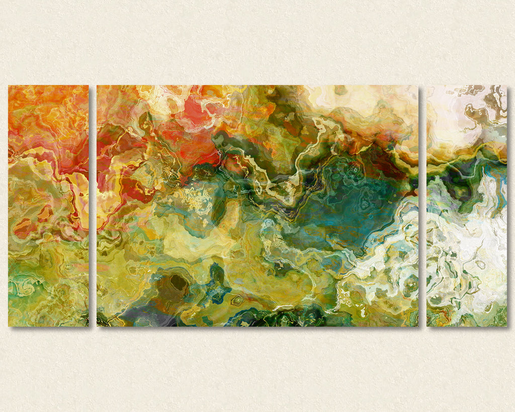 Abstract art triptych canvas print in Olive, Green, Red, Beige
