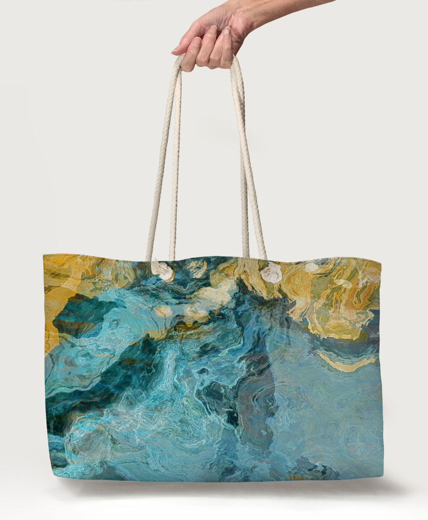 Oversized Rope Handle Tote Bag, Lined Beach Bag, Large Vacation Tote