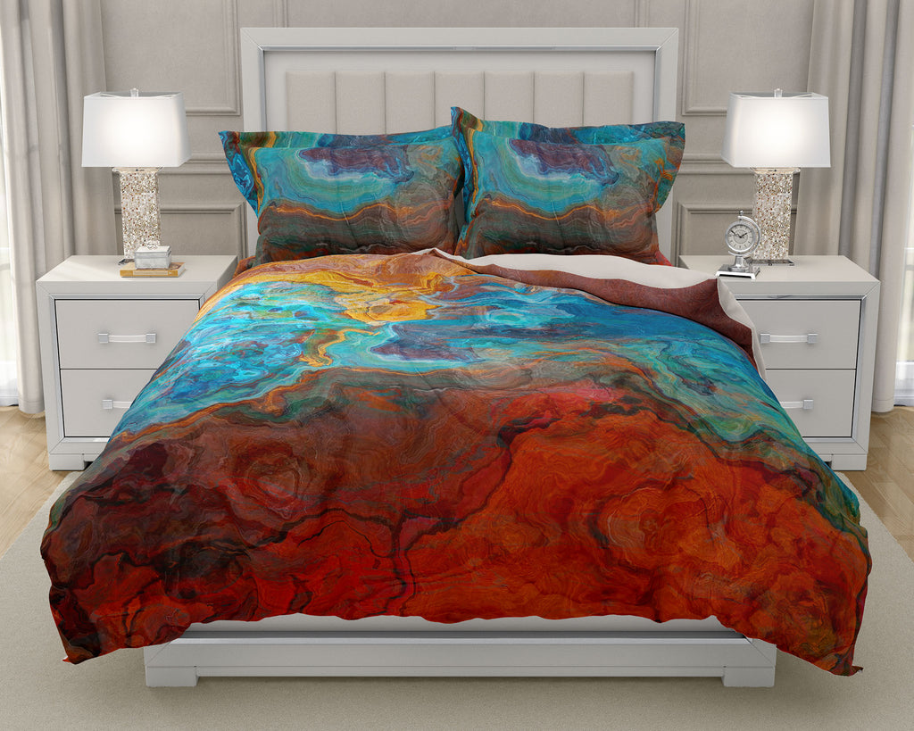 Duvet Cover with abstract art, king or queen in Red, Blue, Yellow