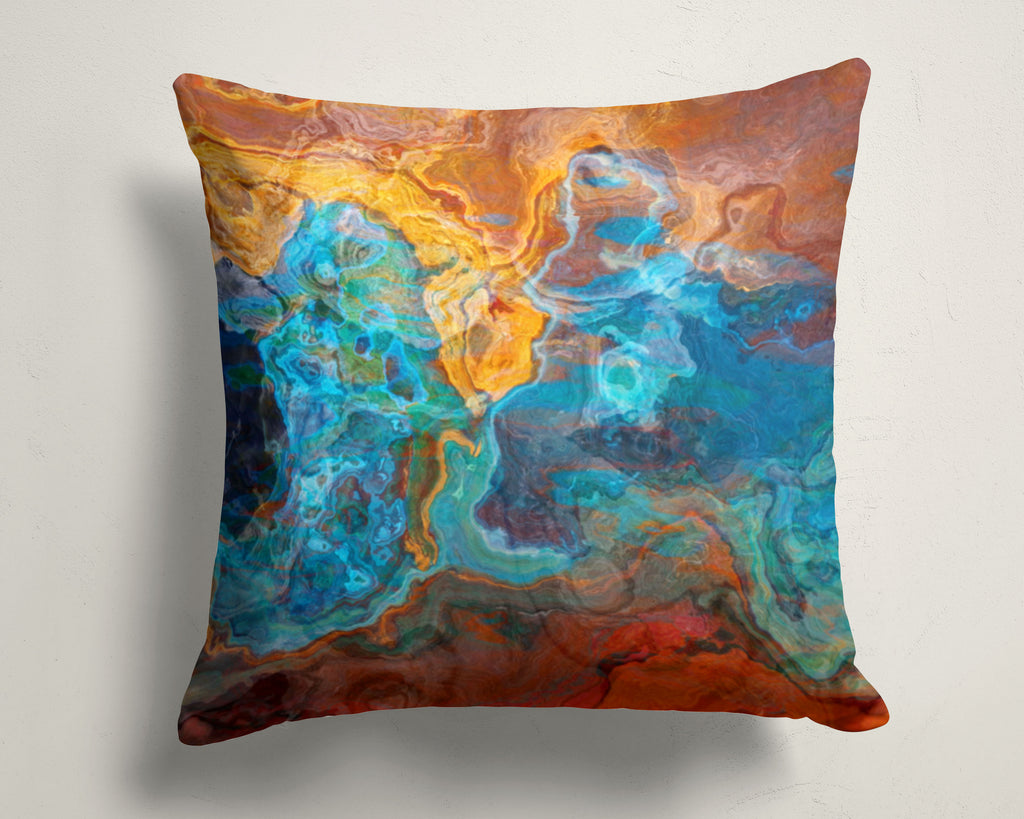 Abstract art pillow covers, 16x16 and 18x18 inches, Red, Blue, Yellow