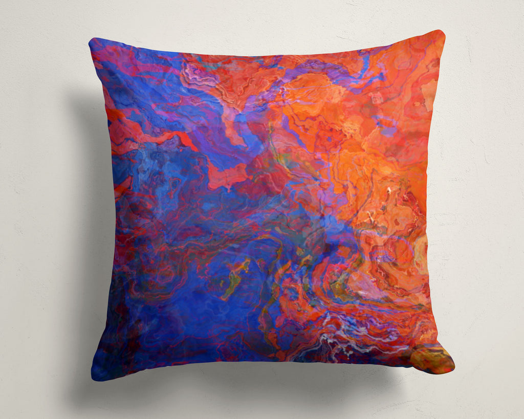 Abstract art pillow covers, 16x16 and 18x18 inches, Red and Blue