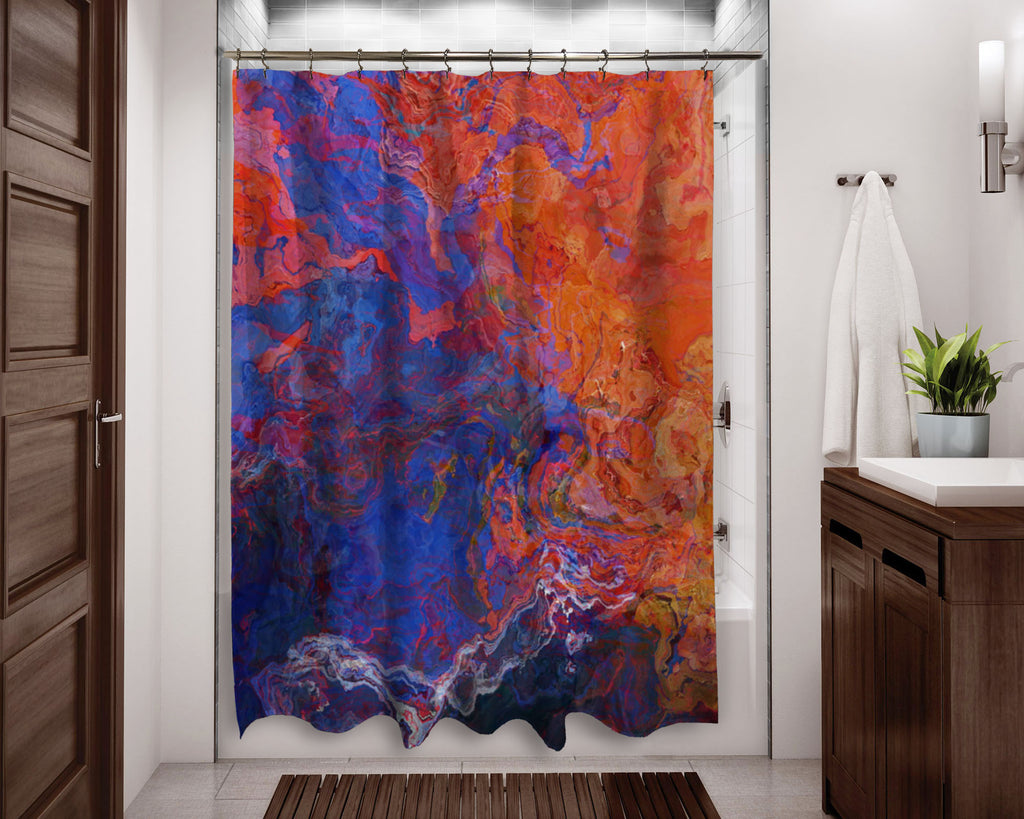 Abstract shower curtain Red and Blue contemporary bathroom