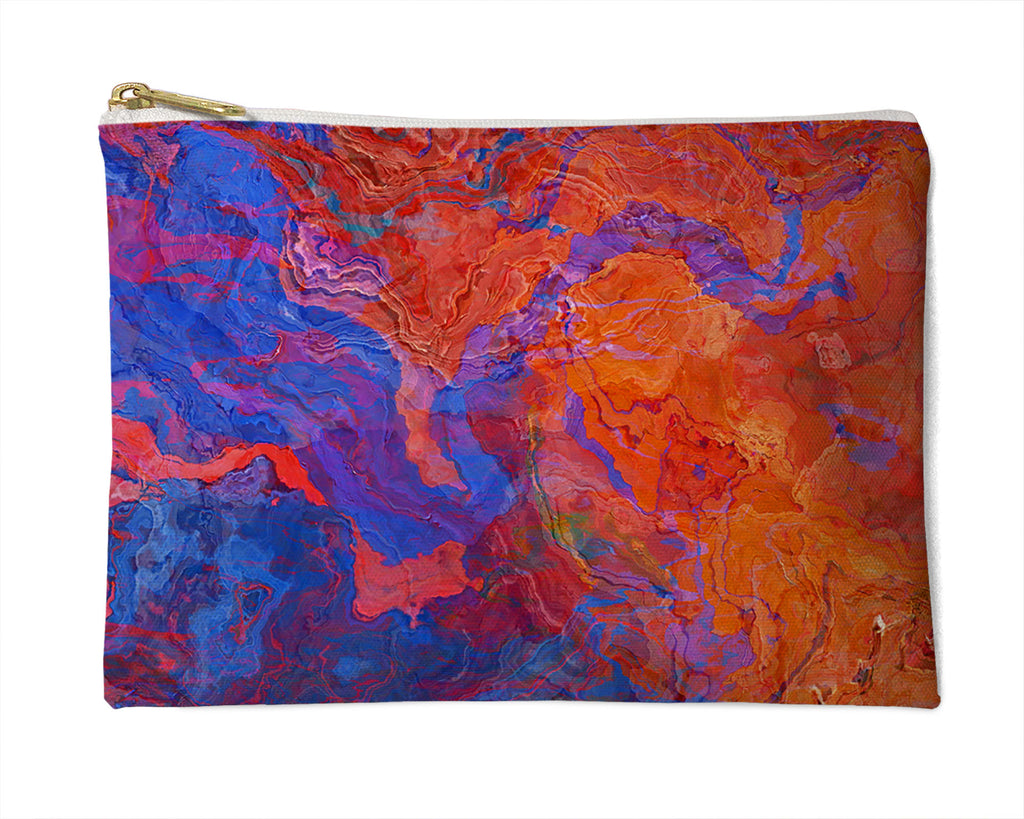Makeup Bag, Pencil Case, Cosmetic Bag Abstract Art, Red and Blue