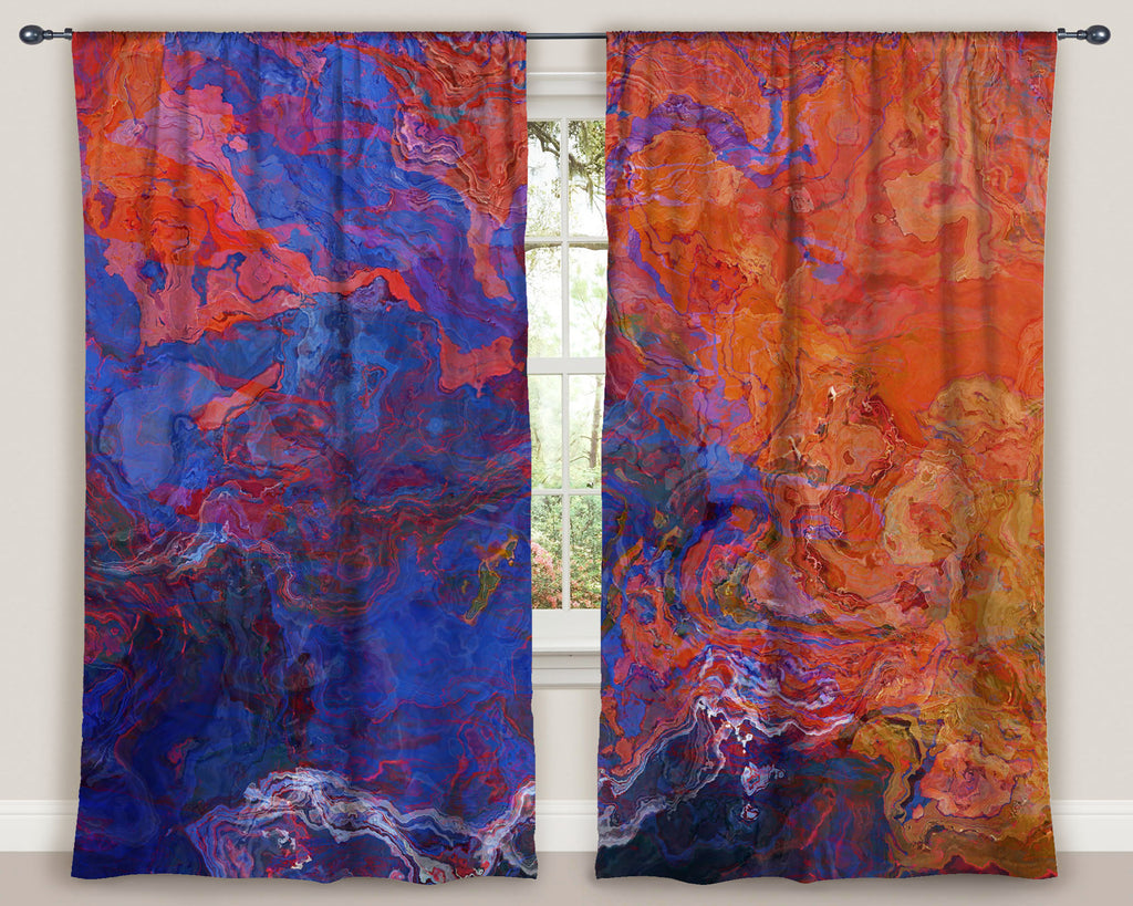 "Abstract art window curtains 50""x84"" panels in Red and Blue"