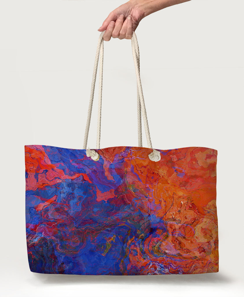 Lined Beach Bag Pilgrim Rope Handle Tote Bag Utility Tote Big Weekend Tote Oversized Tote Large Vacation Tote red orange and black