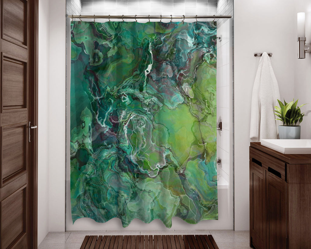 Abstract shower curtain contemporary bathroom blue-green. yellow-green