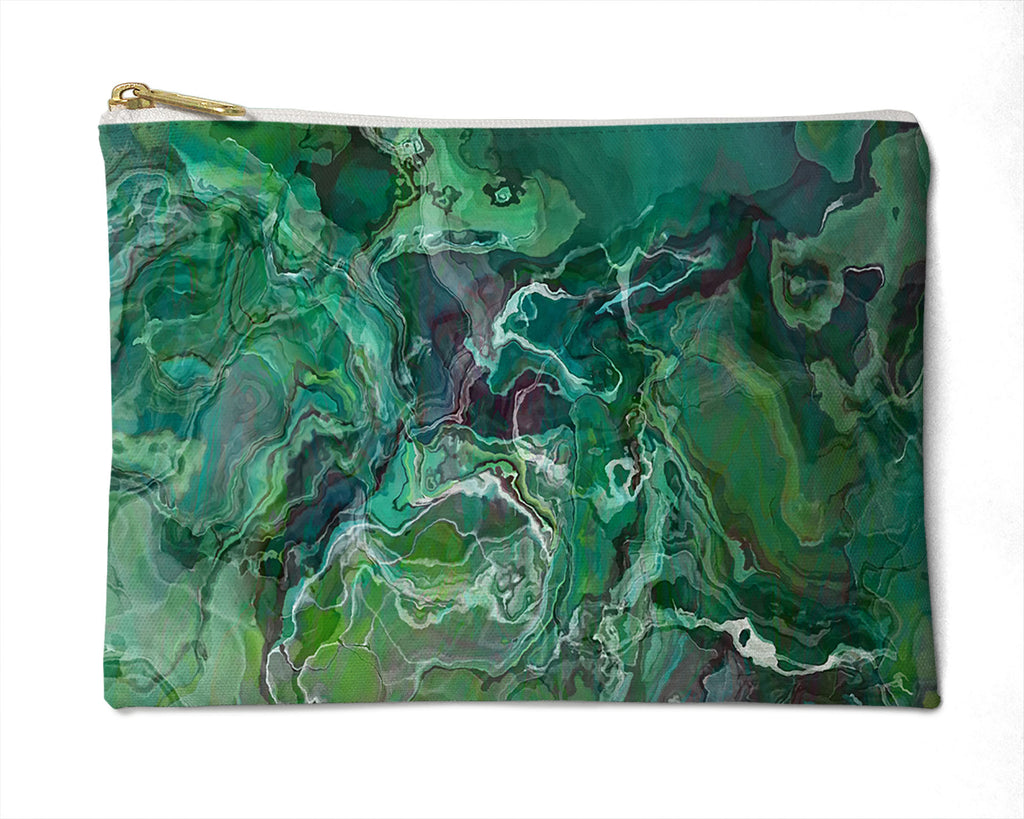 Makeup Bag, Pencil Case, Cosmetic Bag Abstract Art, blue-green
