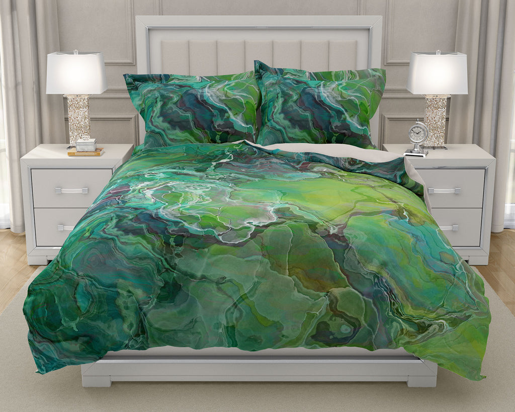 Duvet Cover with abstract art, king or queen blue-green, yellow-green