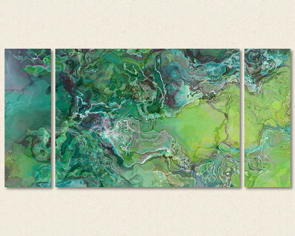 Abstract art triptych canvas print in Aqua Blue and Lime green