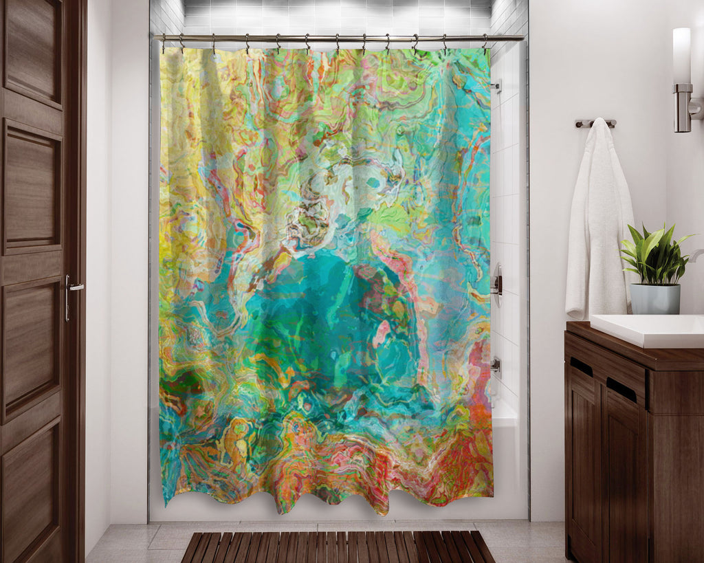 Abstract shower curtain aqua, yellow, green, red contemporary bathroom