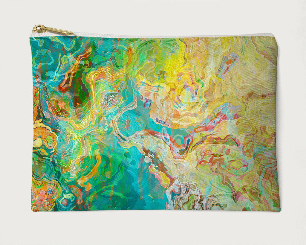 Makeup Bag, Pencil Case, Cosmetic Bag Abstract Art, Aqua, Yellow, Red