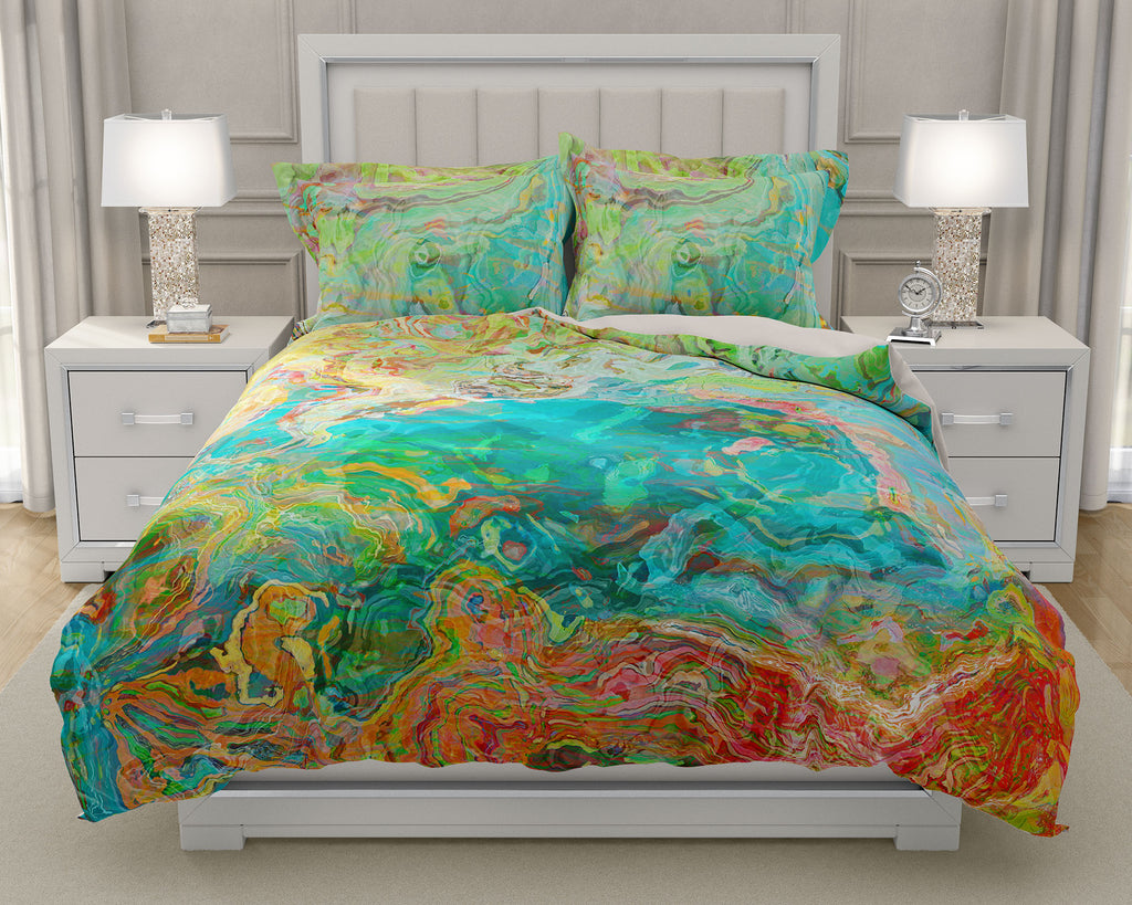 Duvet Cover with abstract art, king or queen in aqua, yellow, red