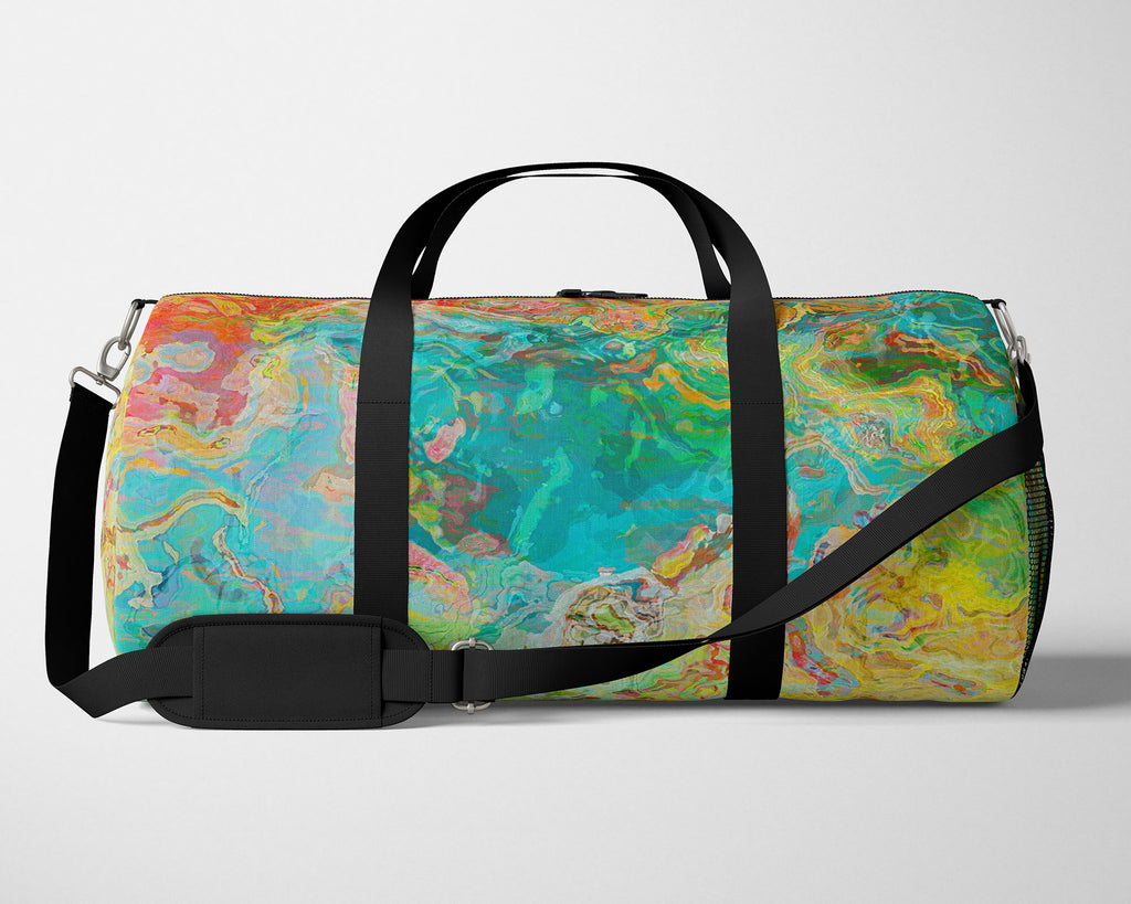 Duffle Bag, overnight travel bag, padded shoulder strap, abstract art
