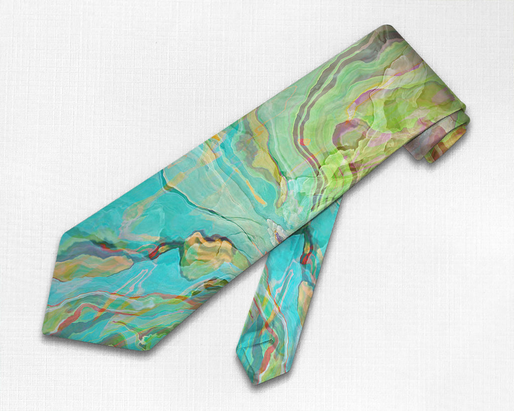 Abstract art men's tie in aqua, yellow, green, red