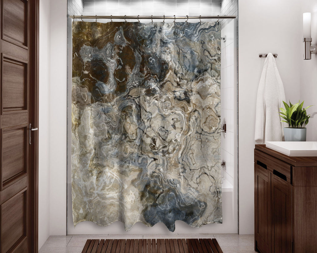 Abstract shower curtain Brown, Gray, Beige, White contemporary bathroom