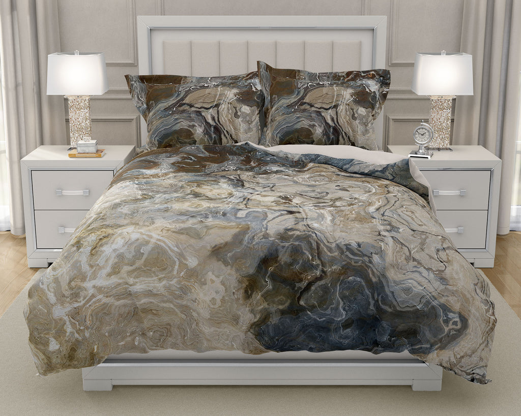 Duvet Cover with abstract art, king or queen in Brown, Gray, White