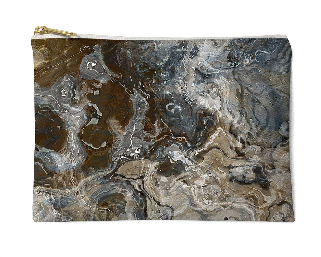 Makeup Bag, Pencil Case, Cosmetic Bag Abstract Art, Brown, Gray, White