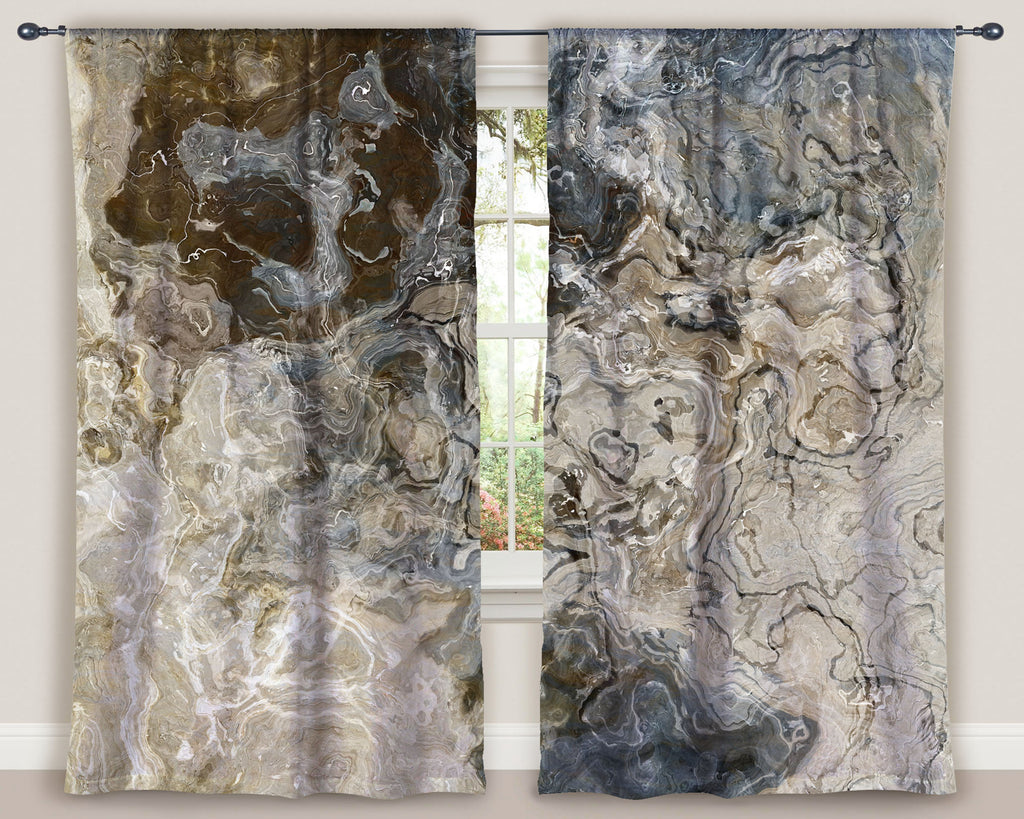 "Abstract art window curtains 50""x84"" panels in Brown, Gray, Beige, White"