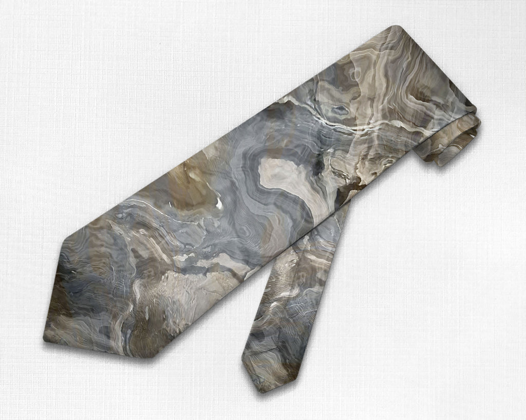 Abstract art men's tie in Brown, Gray, Beige, White