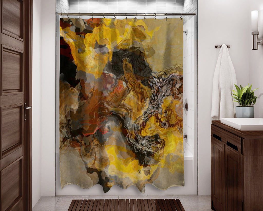 Abstract shower curtain brown, yellow, rust, contemporary bathroom