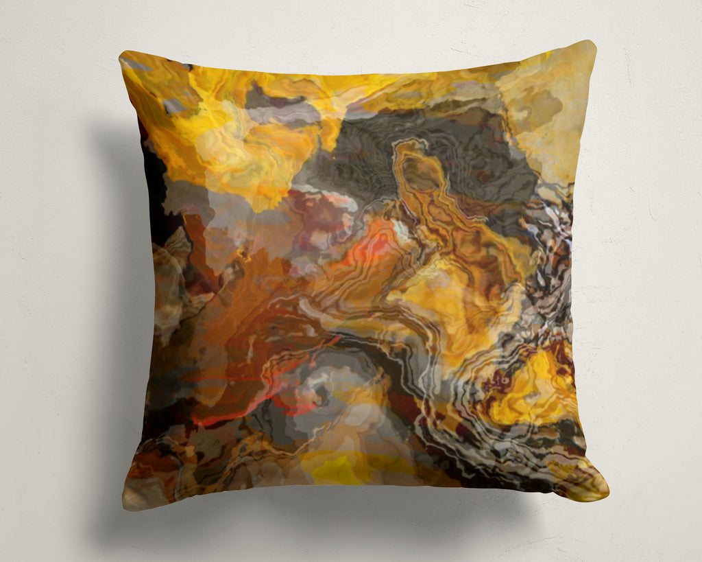 Abstract art pillow covers 16x16 and 18x18 inches, brown, yellow, rust