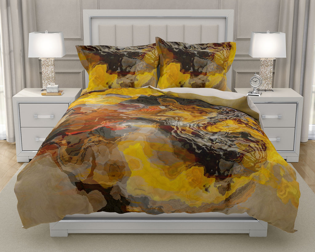 Duvet Cover with abstract art, king or queen in brown, yellow, rust