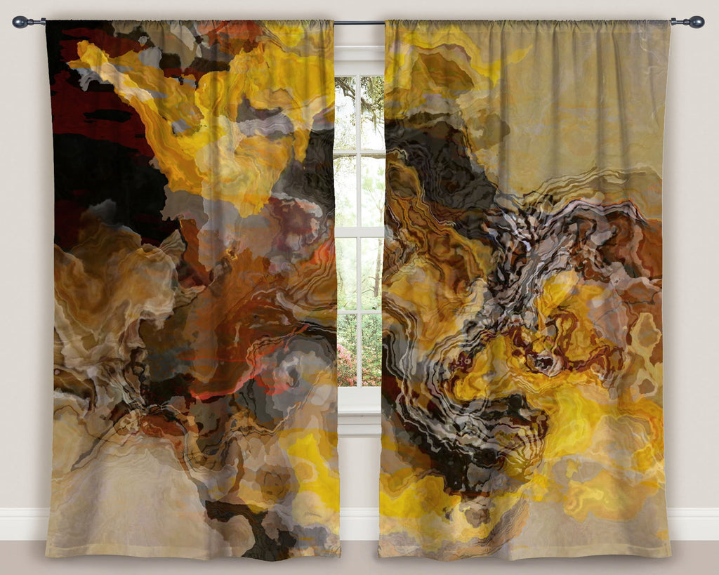 "Abstract art window curtains 50""x84"" panels in brown, yellow, rust"