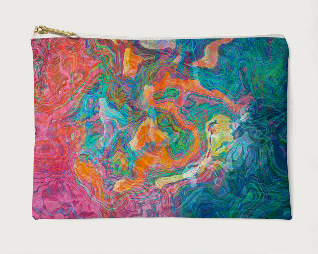 Makeup Bag, Pencil Case, Cosmetic Bag Abstract Art, Blue, Pink, Orange
