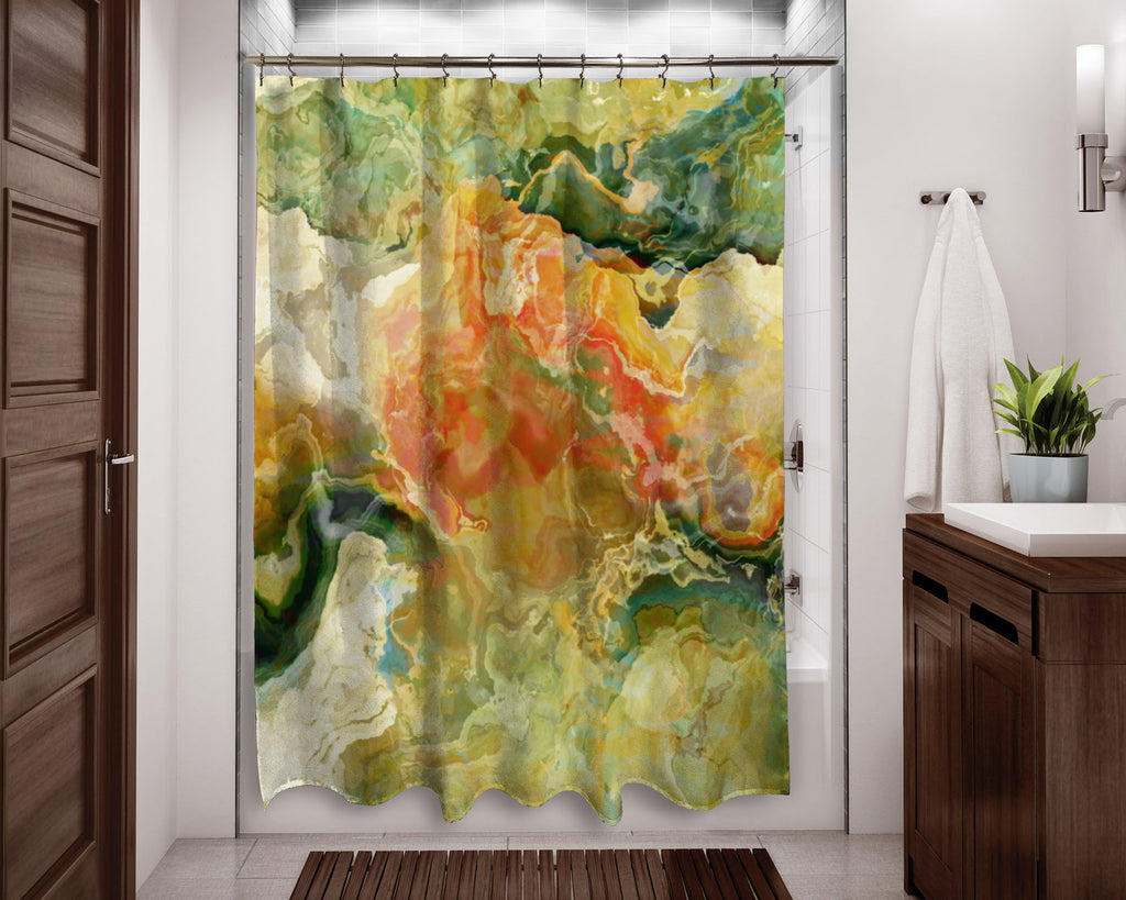 Abstract shower curtain Green, Yellow, Red, Cream contemporary bathroom