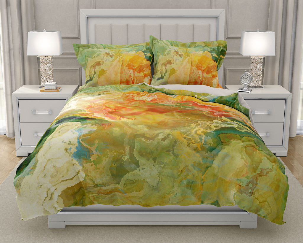 Duvet Cover with abstract art, king or queen in Green, Yellow, Red