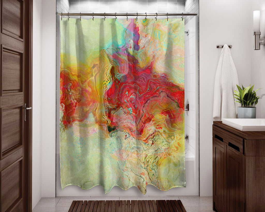 Abstract shower curtain red, yellow, pale green contemporary bathroom