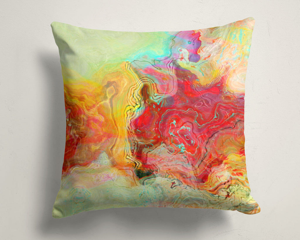 Abstract art pillow covers, 16x16 and 18x18 inches, red, pale green
