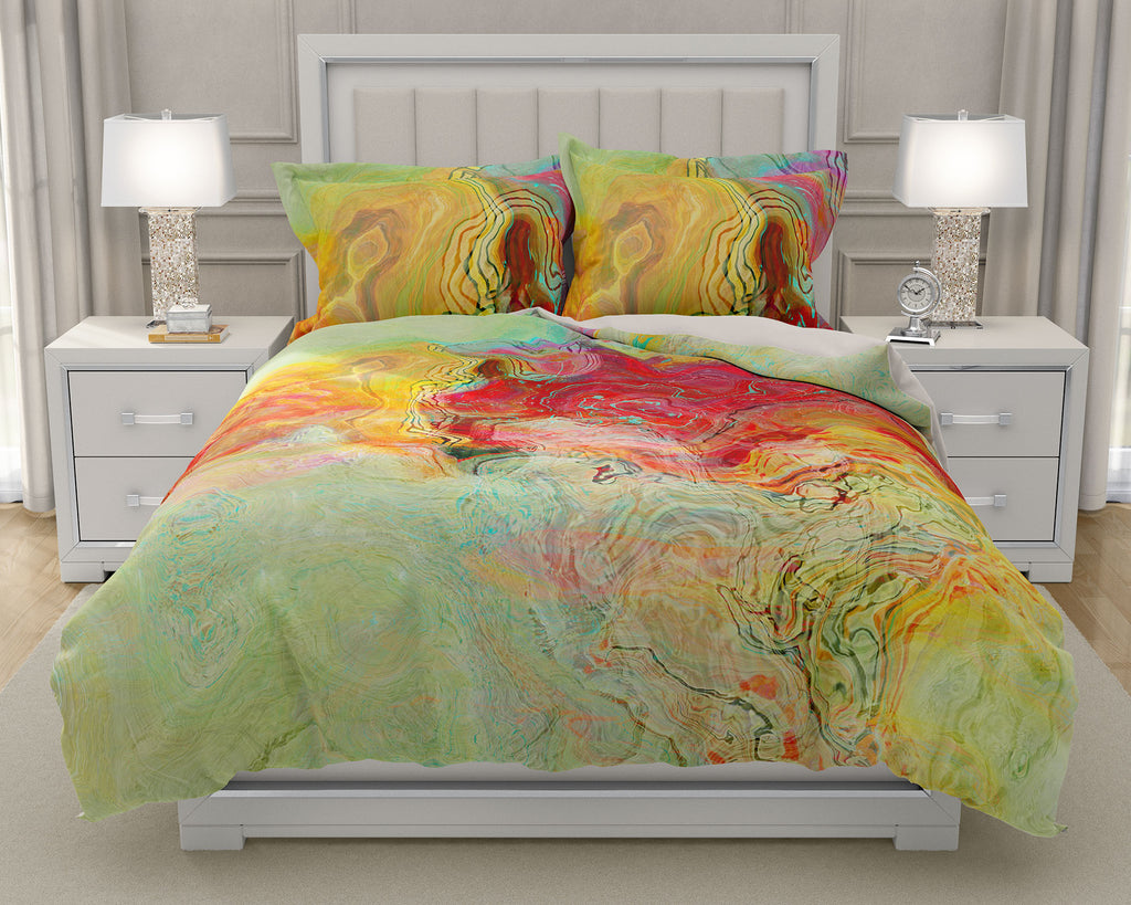 Duvet Cover with abstract art, king or queen red, yellow, pale green