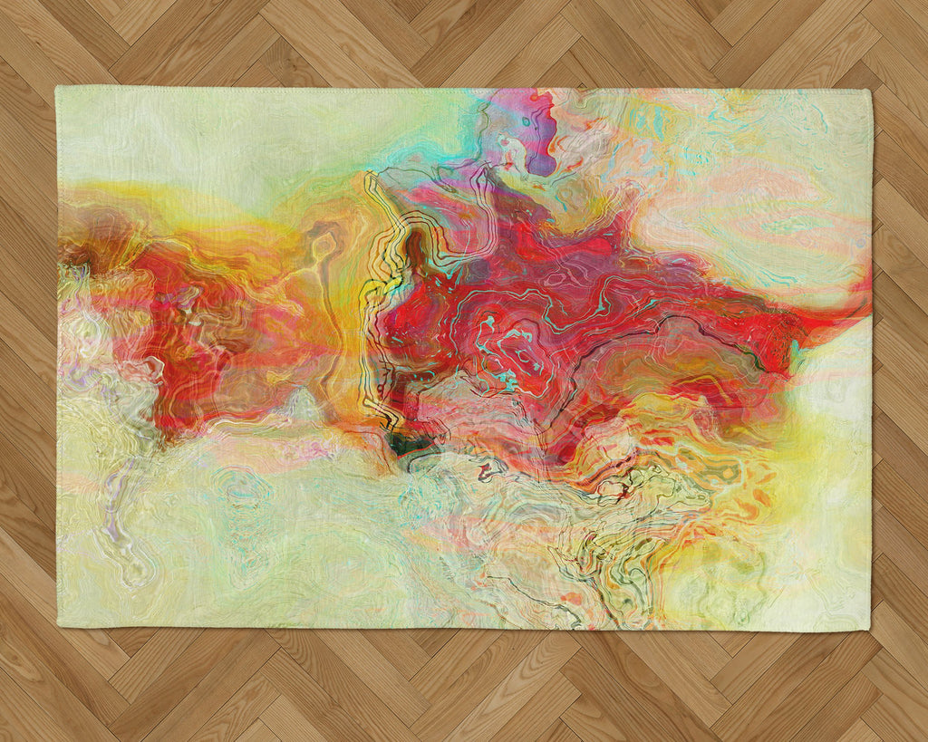 Area Rug with Abstract Art, 2x3 to 5x7, in red, yellow, pale green