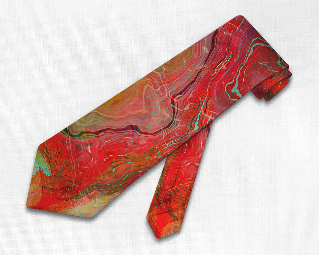 Abstract art men's tie in red, yellow, pale green