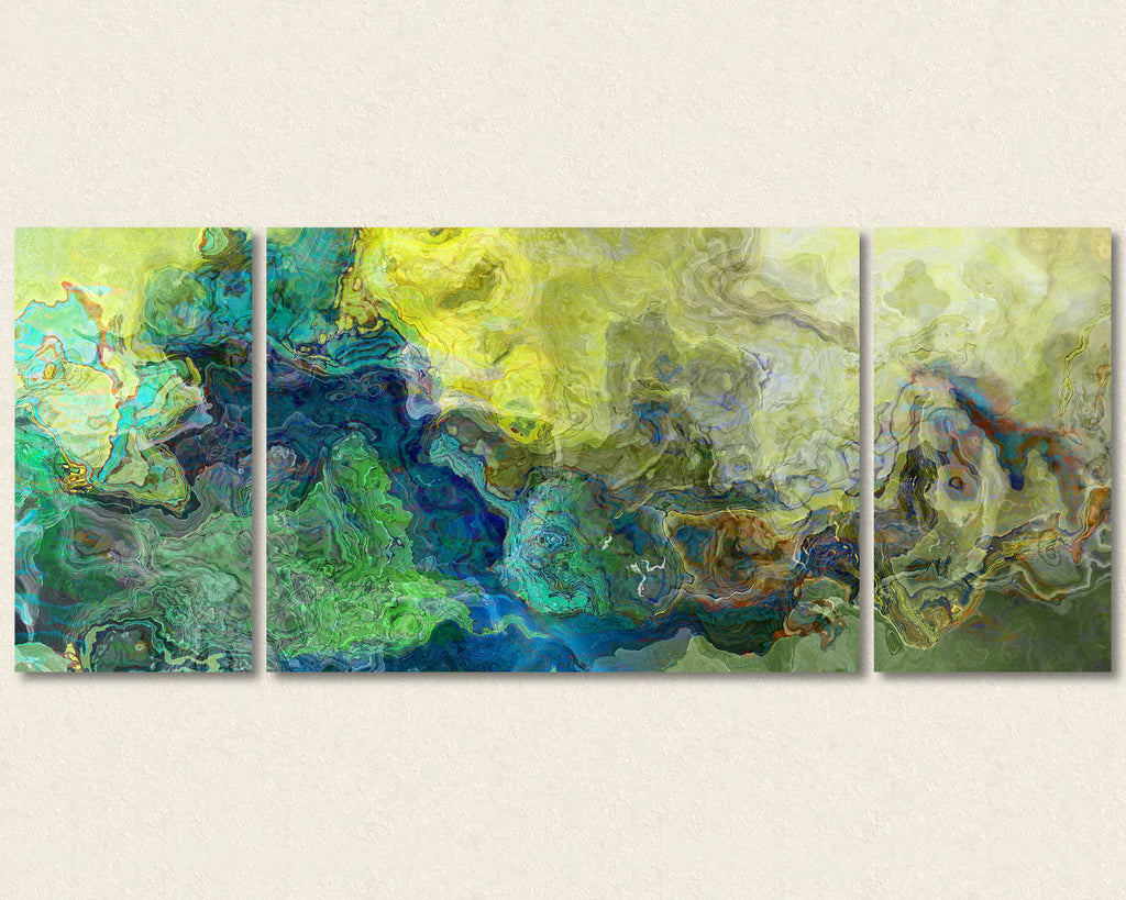 Large Abstract Art canvas print in blue and green