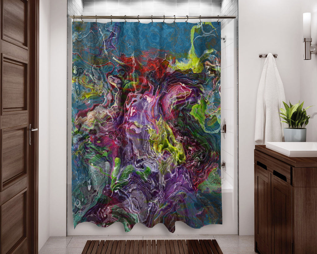 Abstract shower curtain Purple, Green, Red, Blue contemporary bathroom