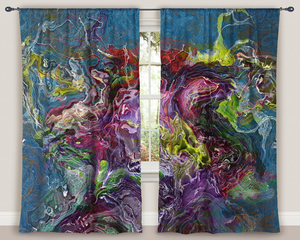 "Abstract art window curtains 50""x84"" panels in Purple, Green, Red, Blue"