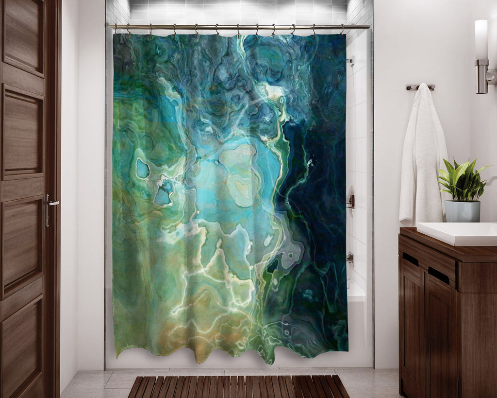 Abstract shower curtain Blue, Aqua, Green, Navy, contemporary bathroom