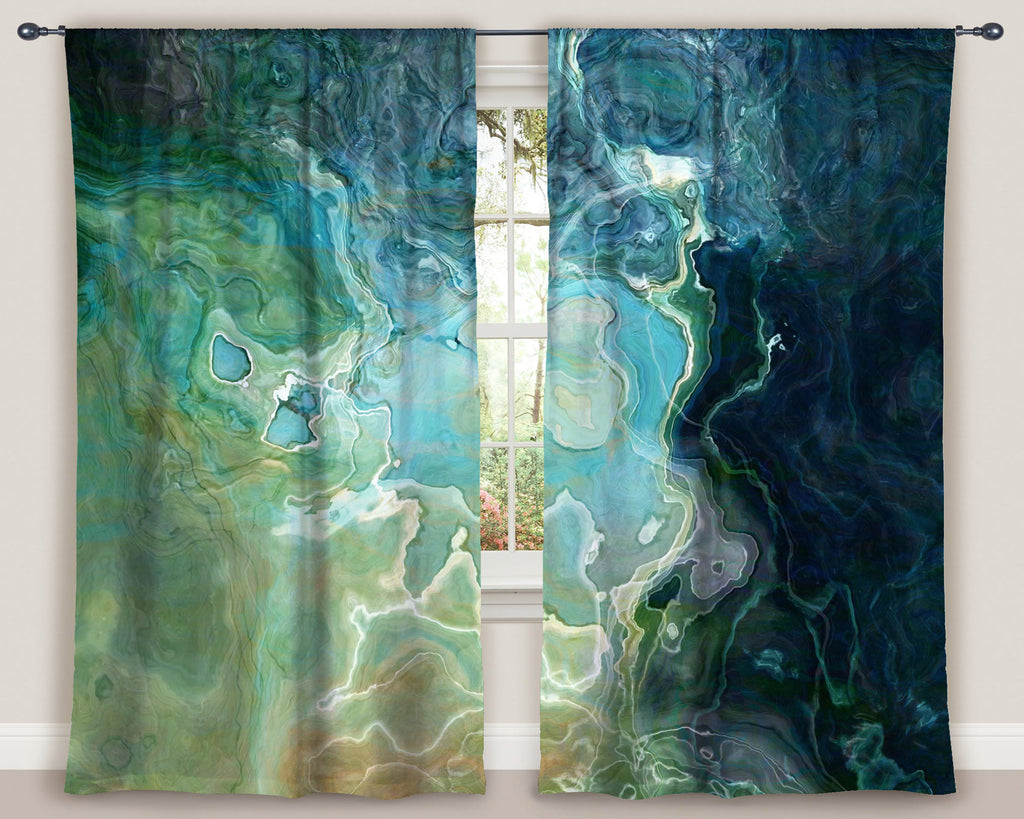 "Abstract art window curtains 50""x84"" panels in Blue, Aqua, Green, Navy"