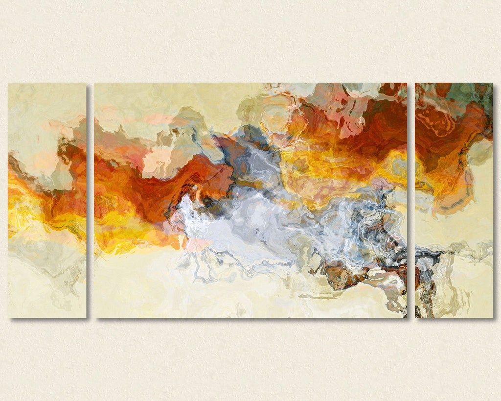 Abstract expressionism triptych canvas print in orange, red and white