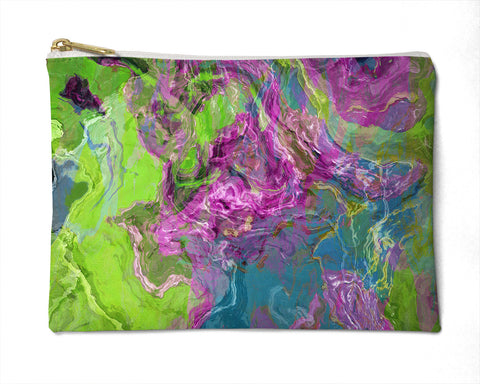 Makeup bag, pencil case, Cosmetic bag with abstract art, in in purple and green, Archipelago