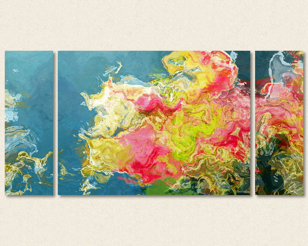 Triptych abstract expressionism canvas print art in pink and green