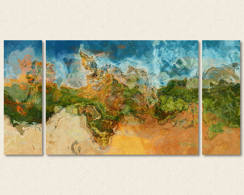 Abstract art triptych gallery wrap giclee large canvas print